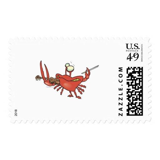 funny fiddler crab cartoon postage stamp