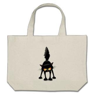 Funny Fierce Black Cat Cartoon Canvas Bags
