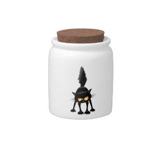 Funny Fierce Black Cat Cartoon Candy Jar