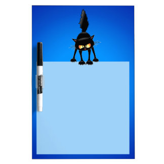 Funny Fierce Black Cat Cartoon Dry Erase Board