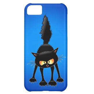 Funny Fierce Black Cat Cartoon iPhone 5C Cover