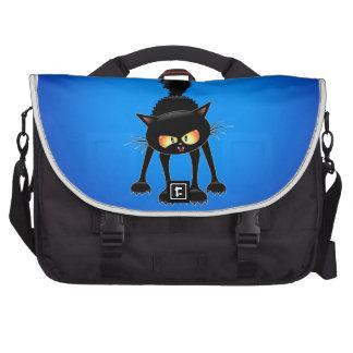 Funny Fierce Black Cat Cartoon Laptop Bags