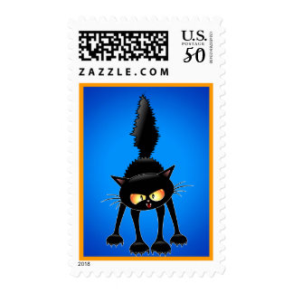Funny Fierce Black Cat Cartoon postage Stamp