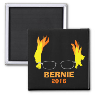 Funny Fiery Hair Bernie Sanders 2 Inch Square Magnet