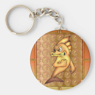 Funny Fighting Fish Basic Round Button Keychain
