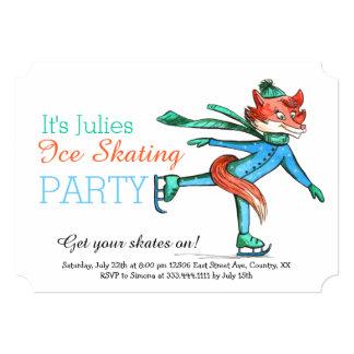 Funny Figure Skating Fox Party Invitation