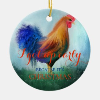 Funny Fine Art Rooster Christmas Ornament