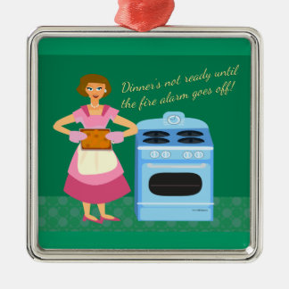 Funny Fire Alarm Supper Time Saying Metal Ornament