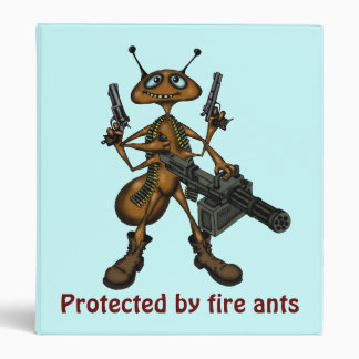 Funny fire ant with guns cartoon art binder