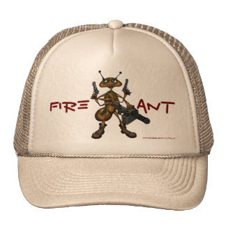Funny fire ant with guns cartoon art hat design