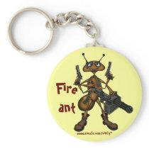 Funny fire ant with guns cartoon art keychain
