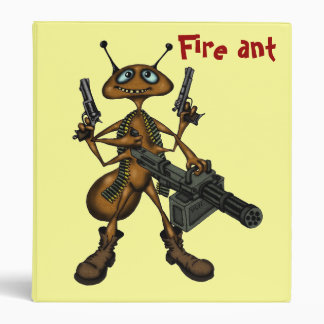 Funny fire ant with guns cartoon drawing binder