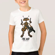 Funny fire ant with guns cartoon drawing t-shirt