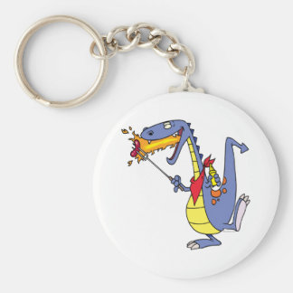 funny fire cooking hot dogs dragon cartoon basic round button keychain