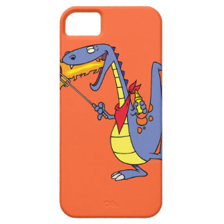 funny fire cooking hot dogs dragon cartoon iPhone 5 cover