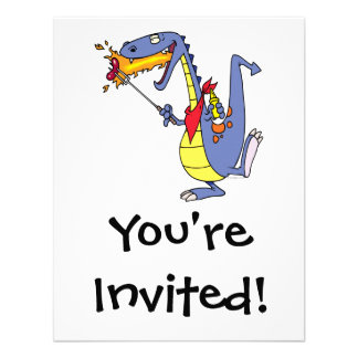 funny fire cooking hot dogs dragon cartoon invitations