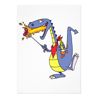 funny fire cooking hot dogs dragon cartoon personalized invitations