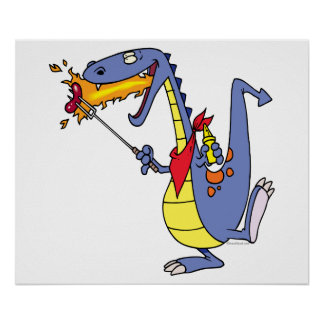 funny fire cooking hot dogs dragon cartoon print