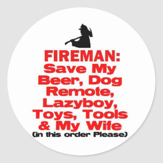 Funny Fire Safety Classic Round Sticker
