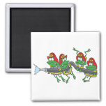 funny firefighter froggy frogs 2 inch square magnet