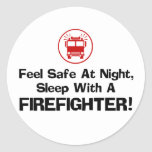 Funny Firefighter Round Stickers