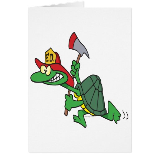 funny fireman firefighter turtle cartoon card