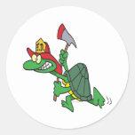 funny fireman firefighter turtle cartoon classic round sticker