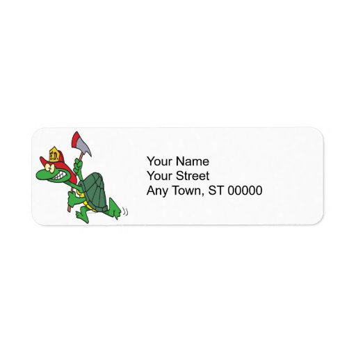 funny fireman firefighter turtle cartoon return address labels