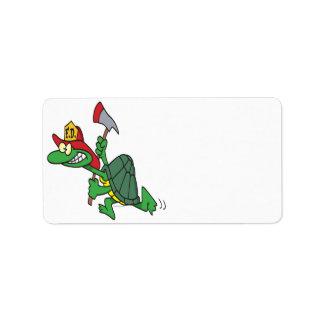 funny fireman firefighter turtle cartoon address label