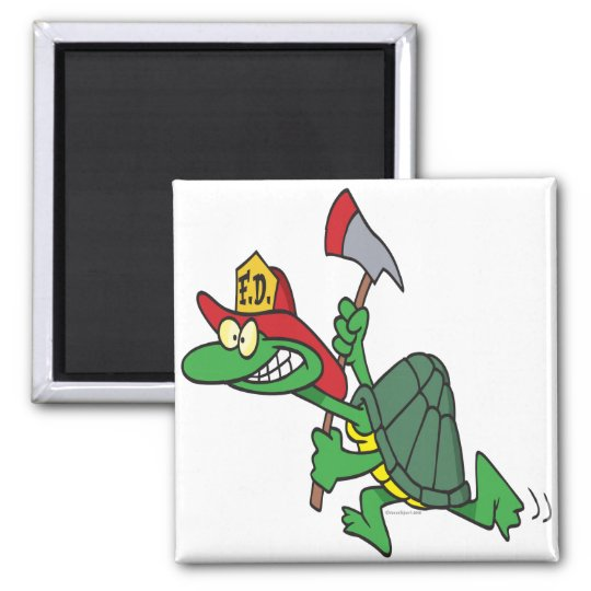 funny fireman firefighter turtle cartoon magnet