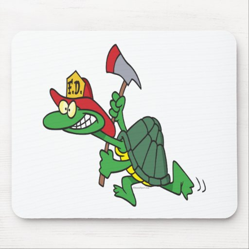 funny fireman firefighter turtle cartoon mouse pad