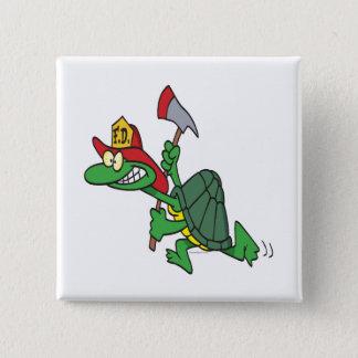 funny fireman firefighter turtle cartoon pinback button
