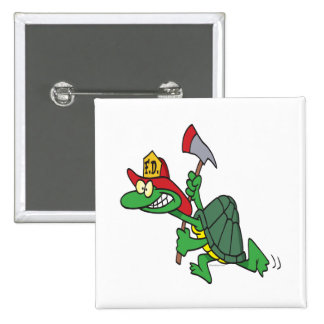 funny fireman firefighter turtle cartoon pinback button