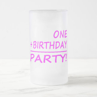Funny First Birthdays : One + Birthday = Party Frosted Glass Beer Mug