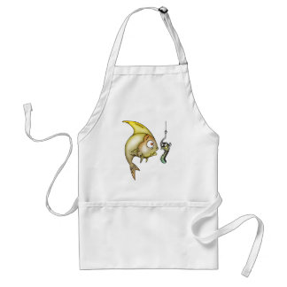 Funny Fish And Worm Adult Apron