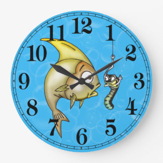 Funny Fish and Worm Bait Wall Clock