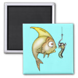 Funny Fish And Worm Fridge Magnet