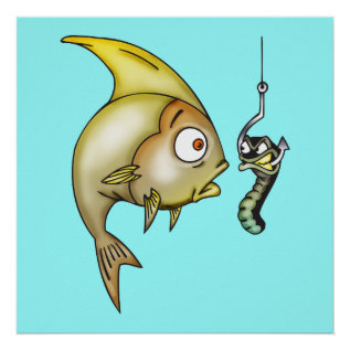 Funny Fish And Worm Poster at Zazzle
