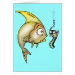 Funny Fish And Worm Stationery Note Card