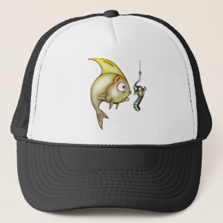 Funny Fish And Worm Trucker Hat