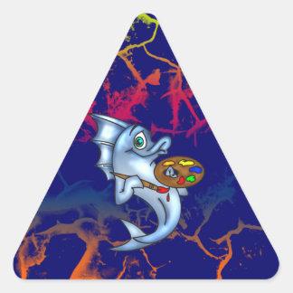 Funny Fish Artist Triangle Sticker