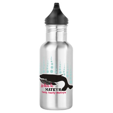 Beach Themed Funny fish boating killer whale tasty mateys water bottle