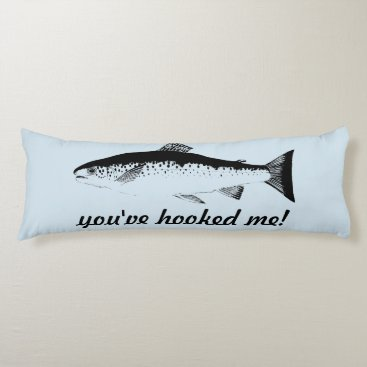 Beach Themed Funny Fish Body Pillow Blue Black