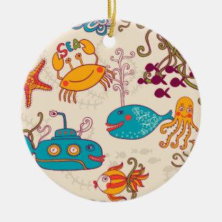 Funny Fish Cartoon under water sea Ceramic Ornament