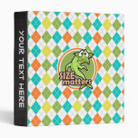 Funny Fish; Colorful Argyle Pattern 3 Ring Binders