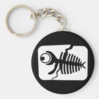 Funny Fish Fossil Basic Round Button Keychain
