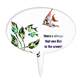 Funny Fish in the Crowd Cake Topper