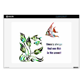 Funny Fish in the Crowd Laptop Skins