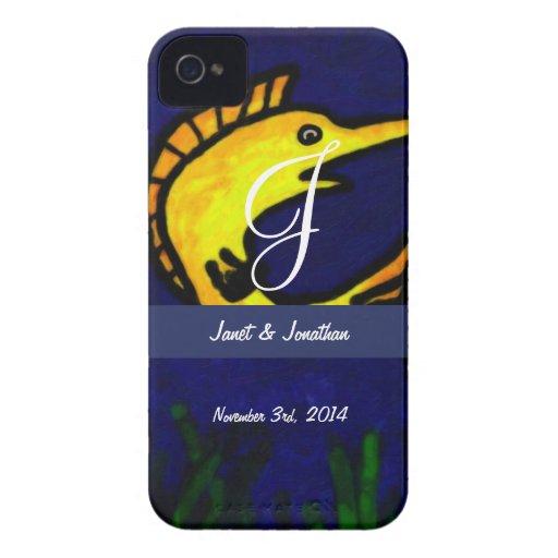 Funny Fish Monogram Case-Mate Blackberry Case