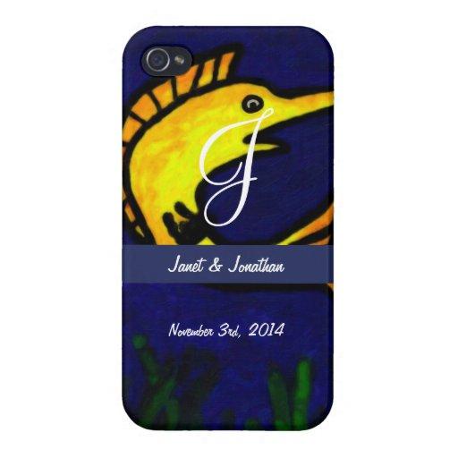 Funny Fish Monogram iPhone 4 Cases